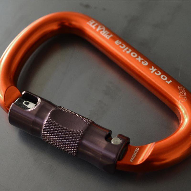 Rock Exotica Pirate Auto-Lock Carabiner Orange insitu